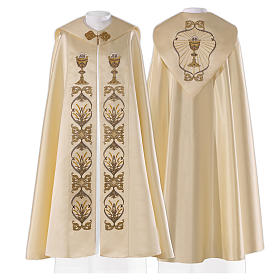 Cope in 80% cream polyester with host and chalice embroidery s1