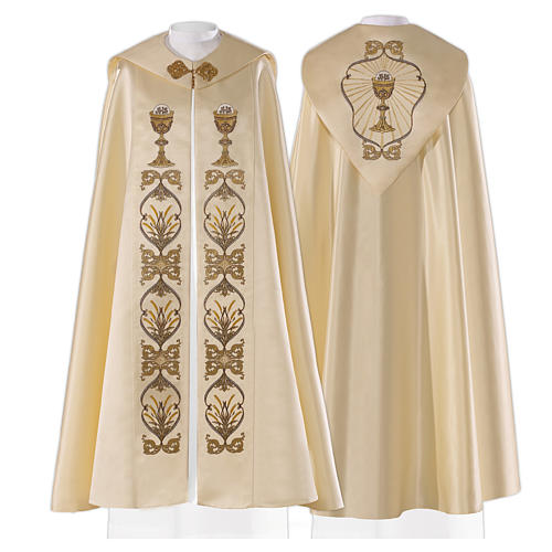 Cope in 80% cream polyester with host and chalice embroidery 1