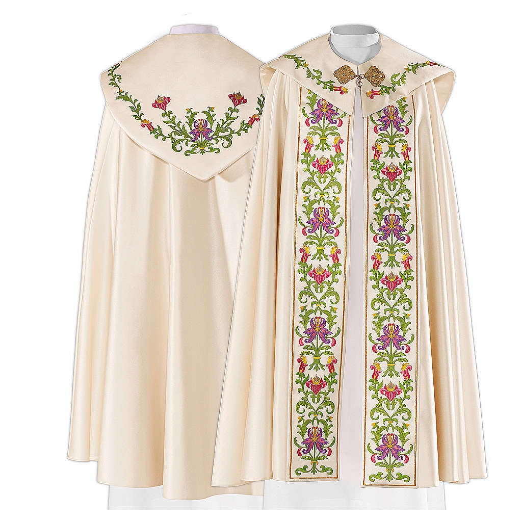 Cope in 80% cream polyester with green purple floral embroideries 4