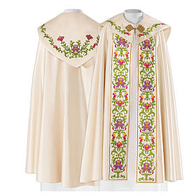 Cope in 80% cream polyester with green purple floral embroideries s2