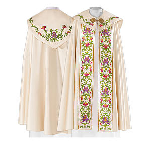 Cope in 80% cream polyester with green purple floral embroideries s1