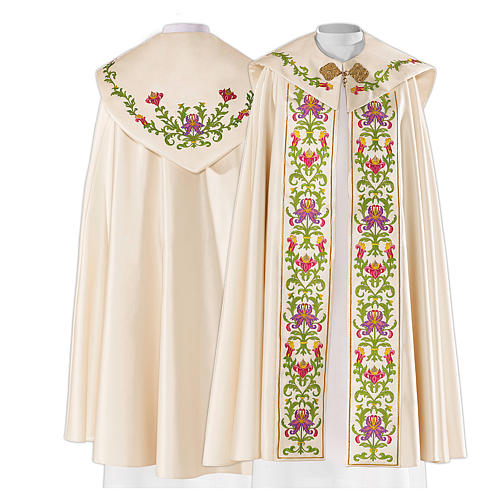 Cope in 80% cream polyester with green purple floral embroideries 1