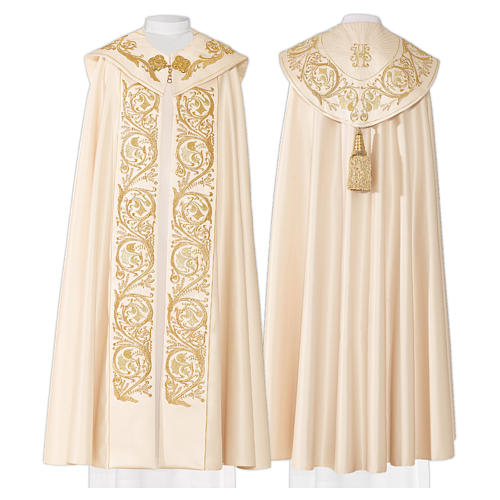 Cope in 80% cream polyester with gold embroideries 1