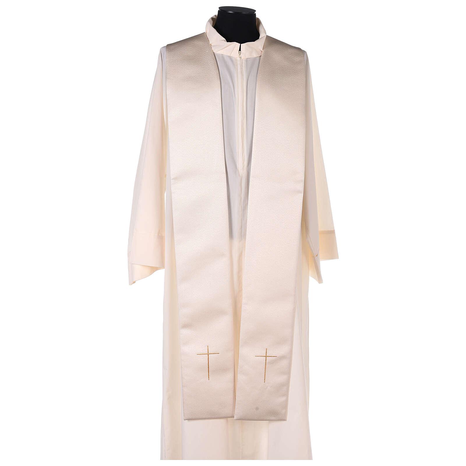 Capa pluvial 80% poliéster blanca nata detalles dorados florales JHS 4