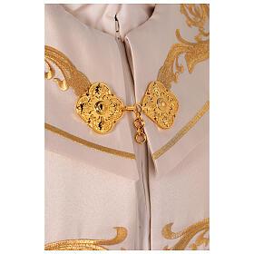 Capa pluvial 80% poliéster blanca nata detalles dorados florales JHS s4