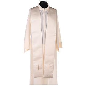 Capa pluvial 80% poliéster blanca nata detalles dorados florales JHS s11
