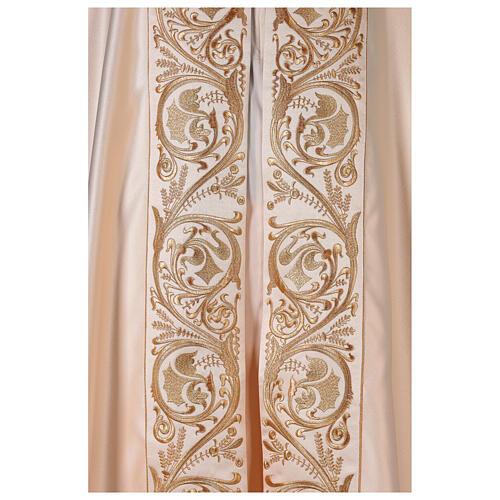 Capa pluvial 80% poliéster blanca nata detalles dorados florales JHS 3