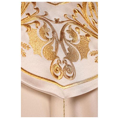 Capa pluvial 80% poliéster blanca nata detalles dorados florales JHS 6