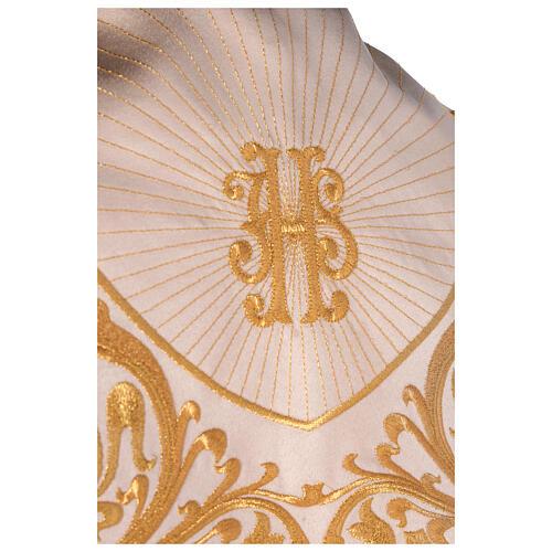 Capa pluvial 80% poliéster blanca nata detalles dorados florales JHS 8