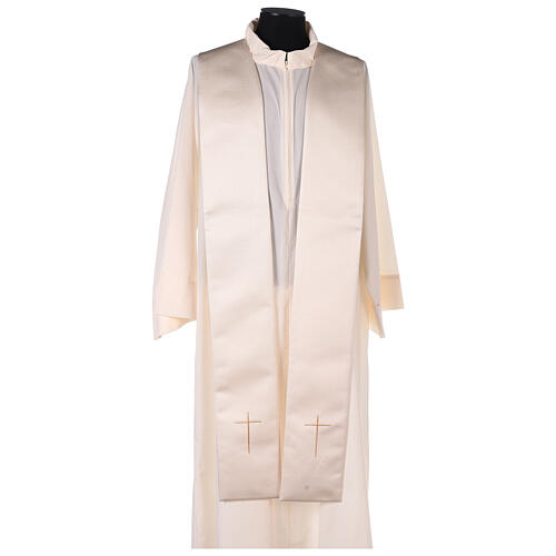 Capa pluvial 80% poliéster blanca nata detalles dorados florales JHS 11