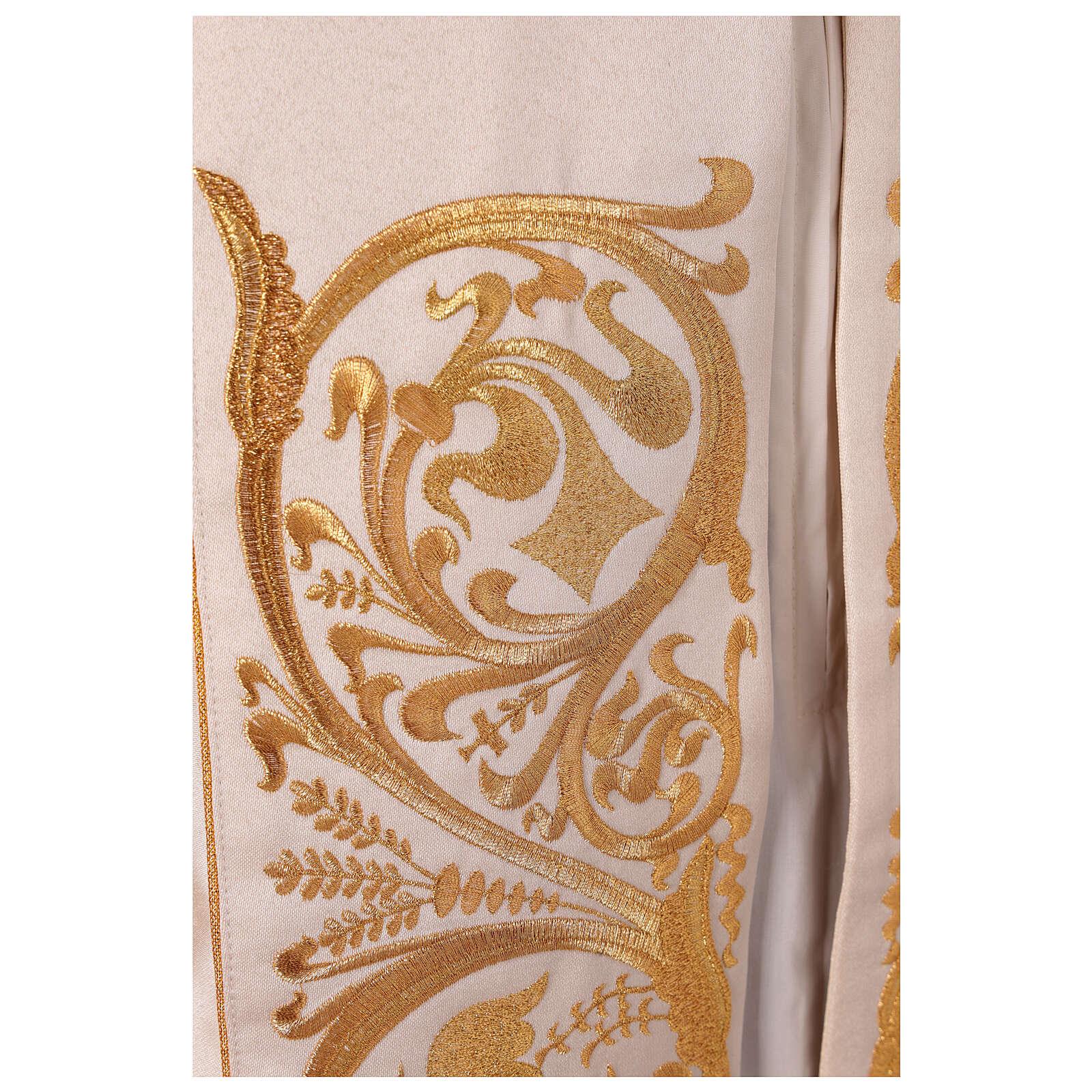 Piviale 80% poliestere bianco panna finiture dorate floreali JHS 4