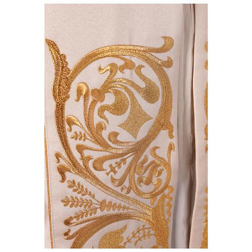Piviale 80% poliestere bianco panna finiture dorate floreali JHS 10