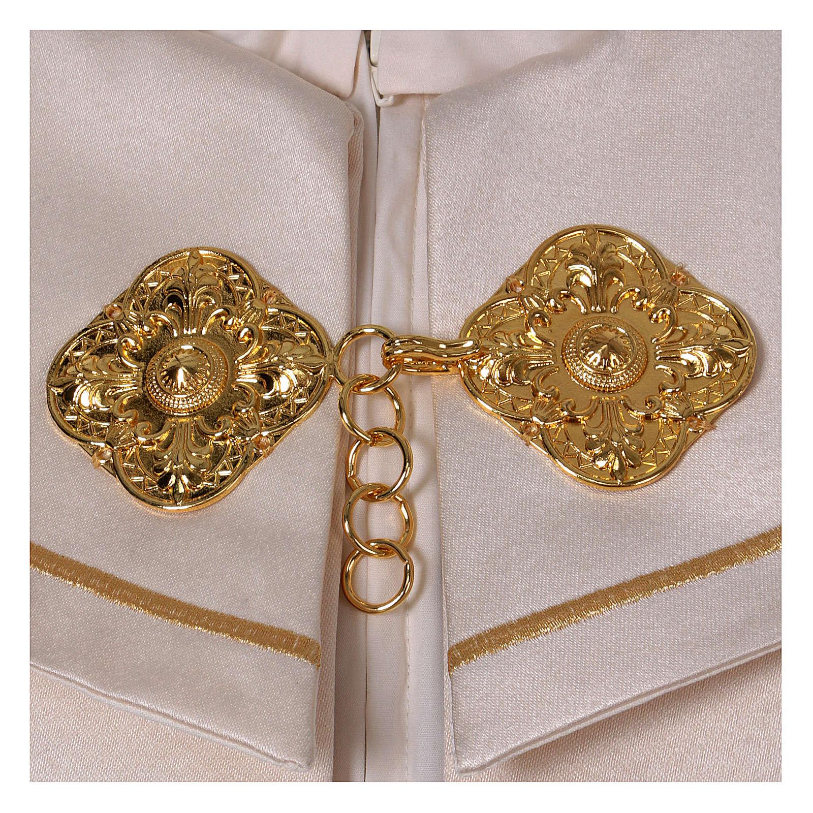Chape liturgique 80% polyester crème Vierge à l'enfant 4