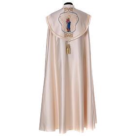 Chape liturgique 80% polyester crème Vierge à l'enfant s7