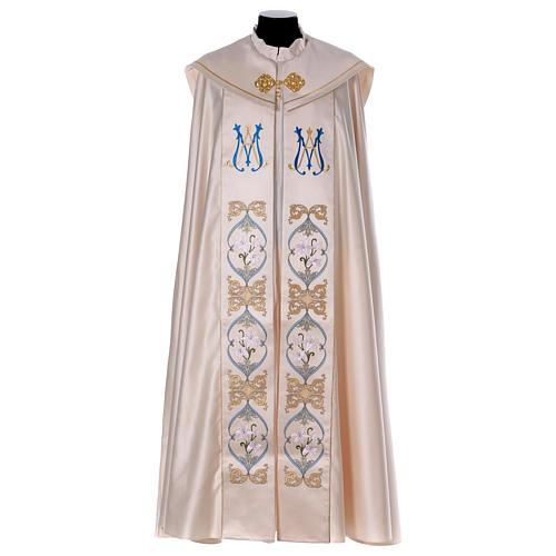 Chape liturgique 80% polyester crème Vierge à l'enfant 1