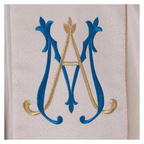 Chape liturgique 80% polyester crème Vierge à l'enfant 5
