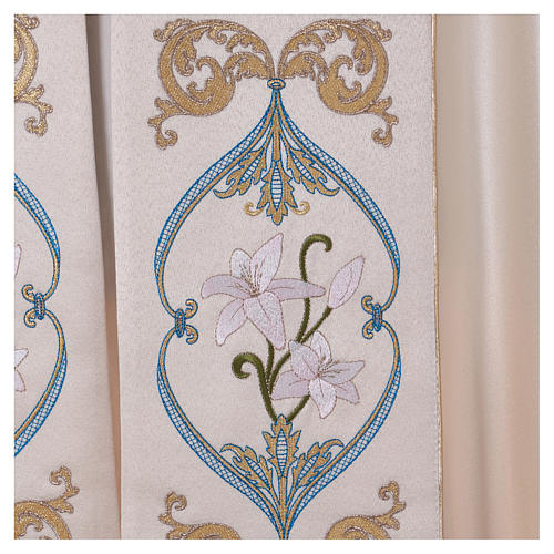 Chape liturgique 80% polyester crème Vierge à l'enfant 6