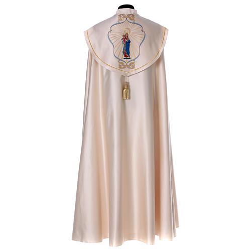 Chape liturgique 80% polyester crème Vierge à l'enfant 7