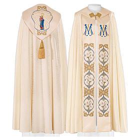 Piviale 80% poliestere bianco panna Madonna con bambino Gesù s1
