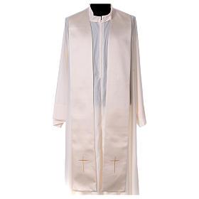 Piviale 80% poliestere bianco panna Madonna con bambino Gesù s8