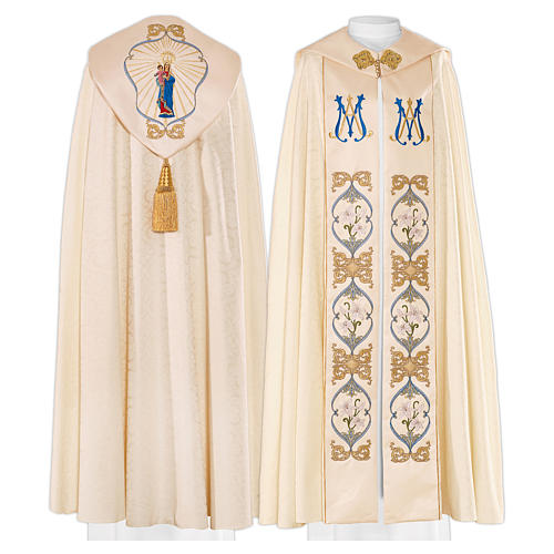 Piviale 80% poliestere bianco panna Madonna con bambino Gesù 1