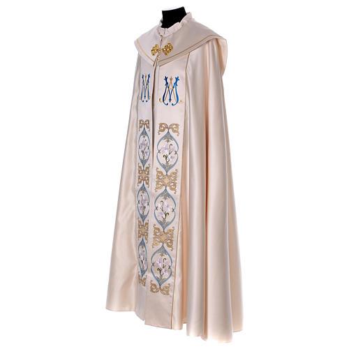 Piviale 80% poliestere bianco panna Madonna con bambino Gesù 3