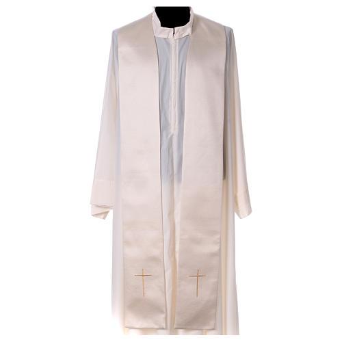 Piviale 80% poliestere bianco panna Madonna con bambino Gesù 8