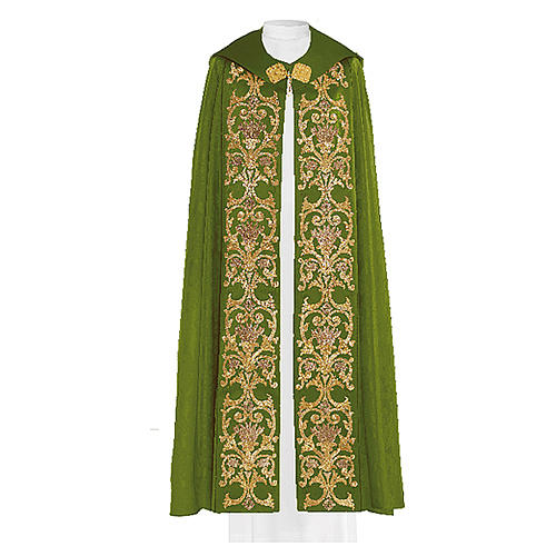 Cope in 80% green polyester with baroque gold embroideries 1