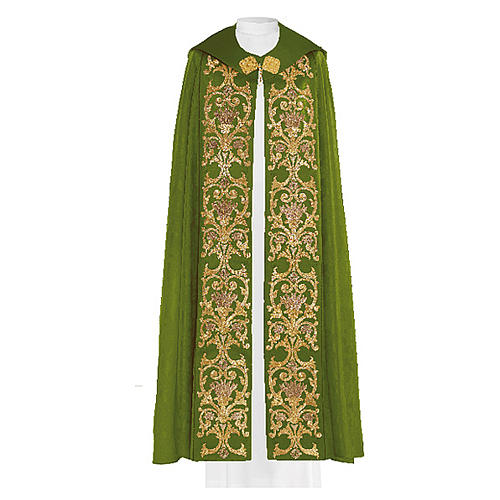 Capa asperges 80% poliéster verde bordado dourado barroco 2