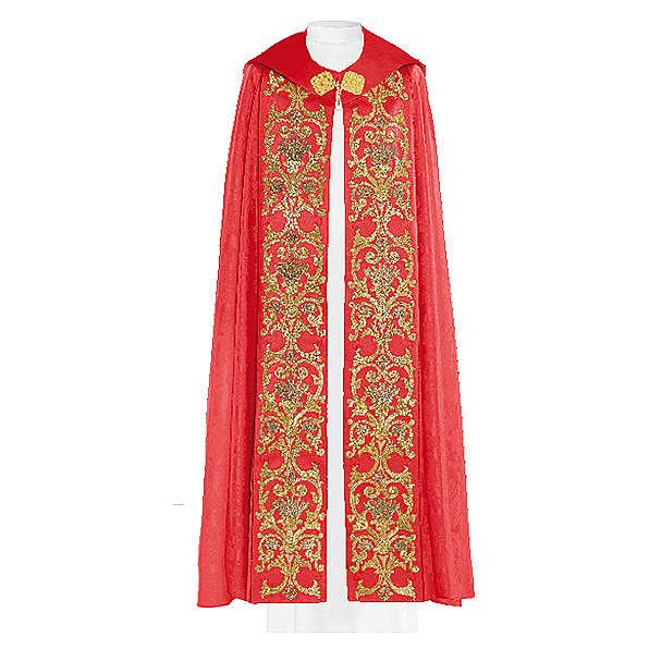Chape liturgique 80% polyester broderie dorée baroque 4