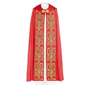 Chape liturgique 80% polyester broderie dorée baroque s1