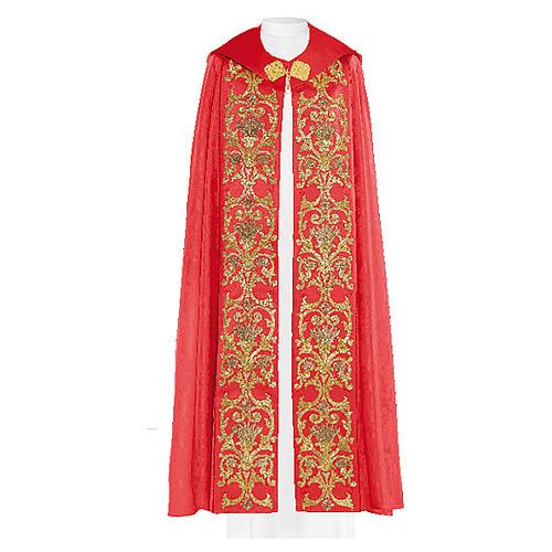 Chape liturgique 80% polyester broderie dorée baroque 2