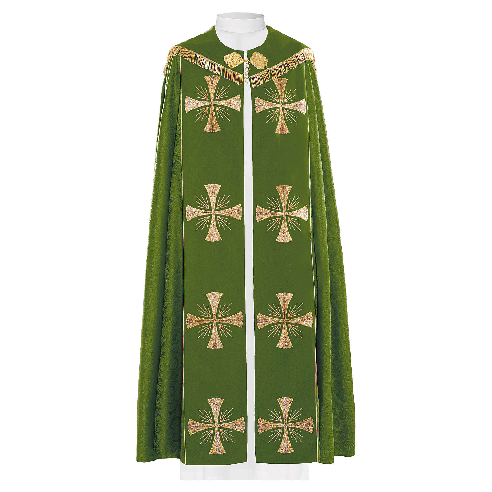 Cope in 100% green polyester with gold crosses 4