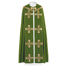 Cope in 100% green polyester with gold crosses s1