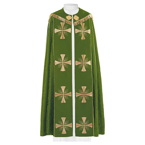Cope in 100% green polyester with gold crosses 1