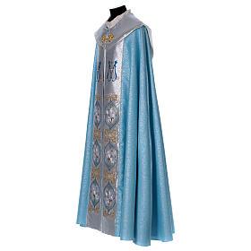 Piviale 80% poliestere celeste iniziali Santissimo nome di Maria s3