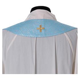 Piviale 80% poliestere celeste iniziali Santissimo nome di Maria s9