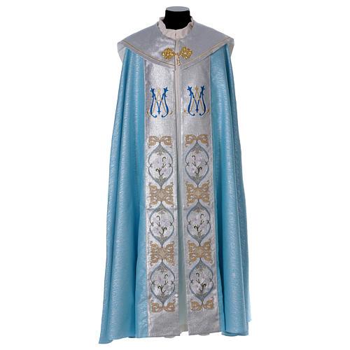Piviale 80% poliestere celeste iniziali Santissimo nome di Maria 1