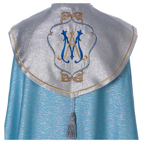 Piviale 80% poliestere celeste iniziali Santissimo nome di Maria 2