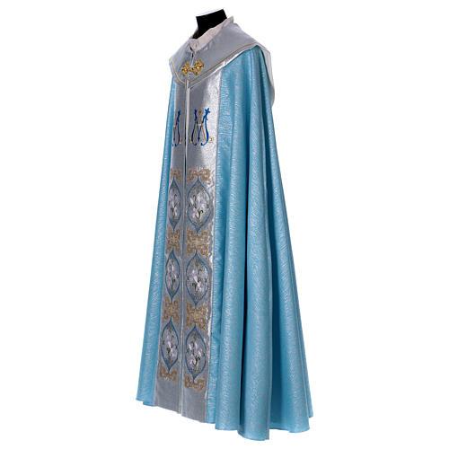 Piviale 80% poliestere celeste iniziali Santissimo nome di Maria 3