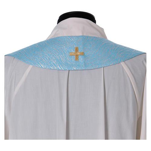 Piviale 80% poliestere celeste iniziali Santissimo nome di Maria 9