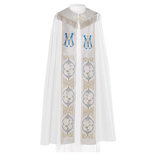 Piviale 80% poliestere bianco iniziali Santissimo nome di Maria 1