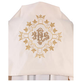 Humeral veil with gold embroidery with JHS and crowns s2