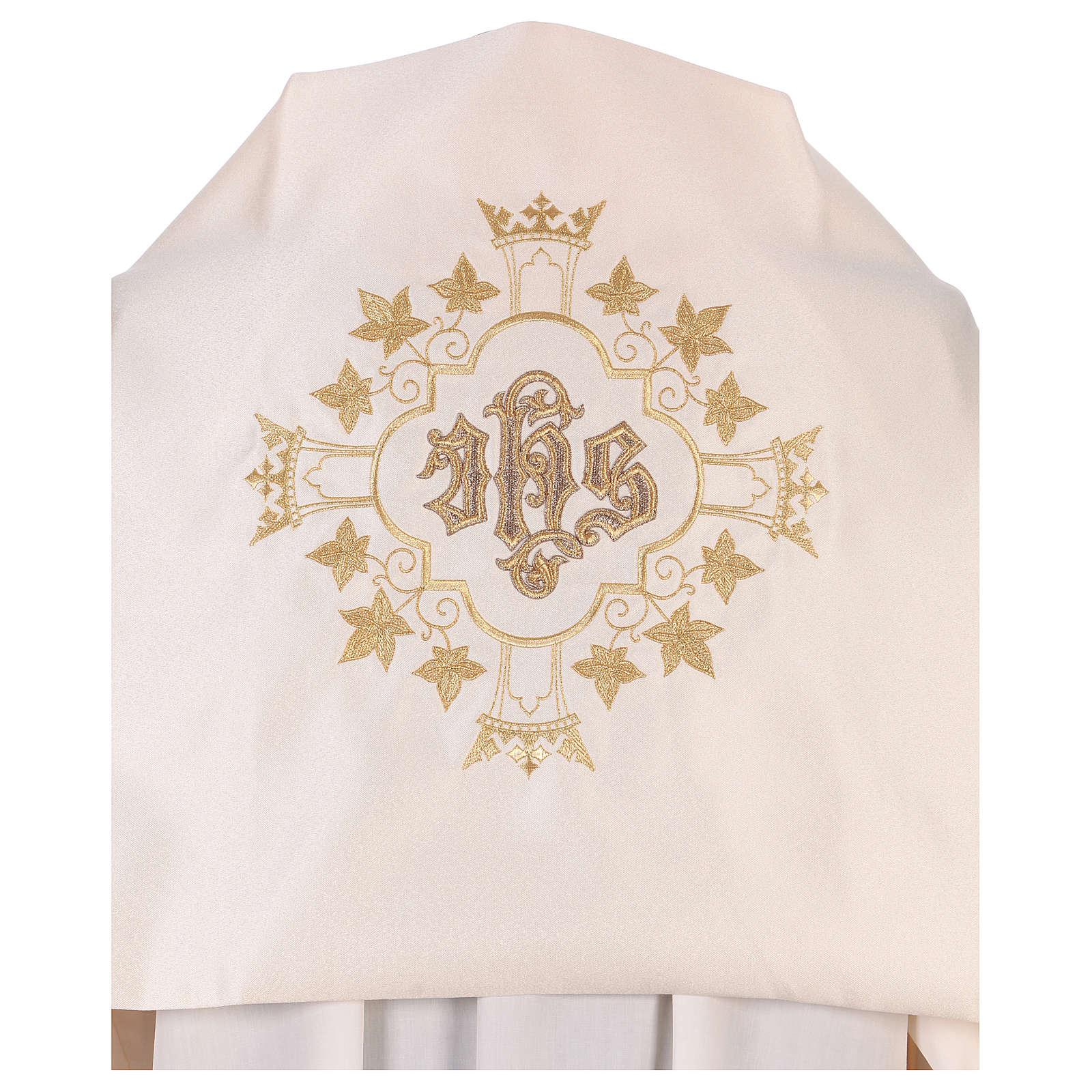 Voile huméral brodé doré IHS avec couronnes 4
