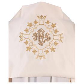Véu umeral bordado dourado IHS com coroas s2