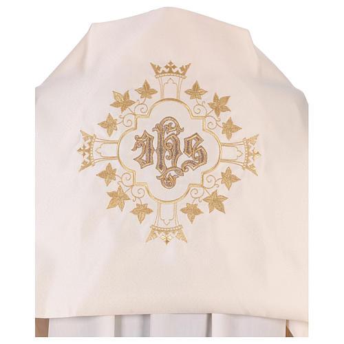 Véu umeral bordado dourado IHS com coroas 2