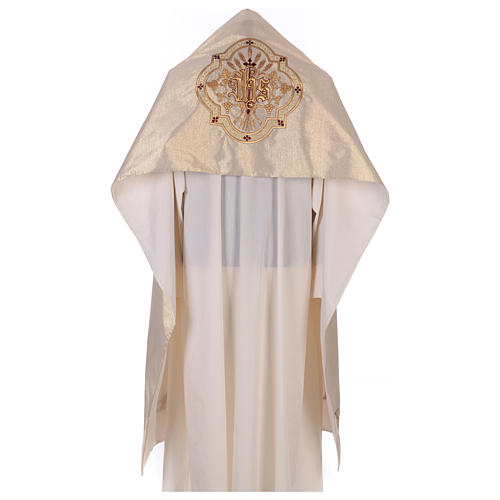 Humeral veil ecru IHS embroidery 100% polyester 1