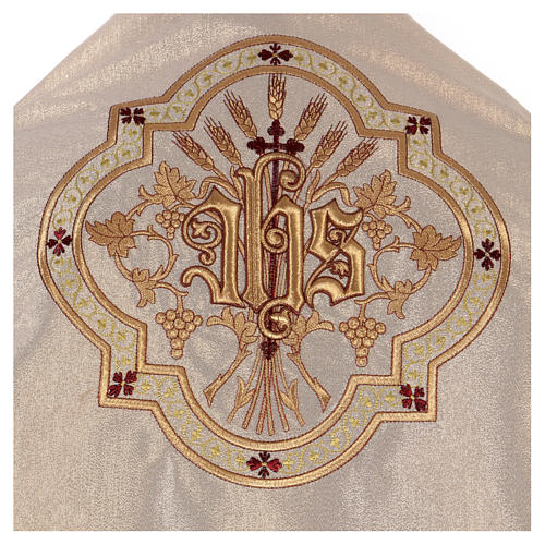 Humeral veil ecru IHS embroidery 100% polyester 2