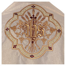 Humeral veil ecru IHS embroidery 100% polyester s2