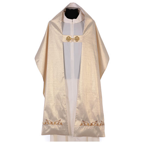 Humeral veil ecru IHS embroidery 100% polyester 3